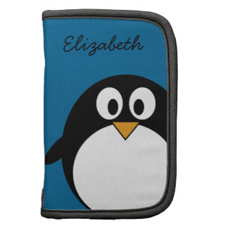 cute cartoon penguin blue background folio planner
