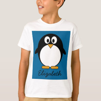 cute cartoon penguin blue background T-Shirt