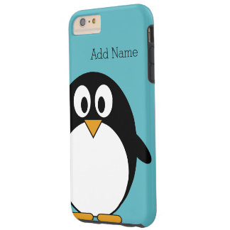 Cute Cartoon Penguin Custom Name Blue Tough iPhone 6 Plus Case