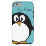 Cute Cartoon Penguin Custom Name Blue Tough iPhone 6 Case