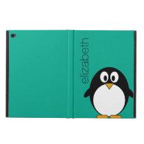 Cute Cartoon Penguin Custom Name Emerald Powis iPad Air 2 Case