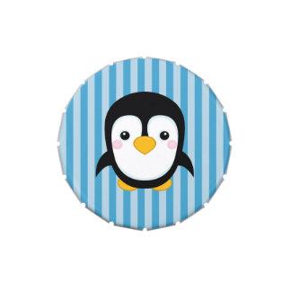 Cute Cartoon Penguin Design Blue Stripes Pattern Jelly Belly Tin