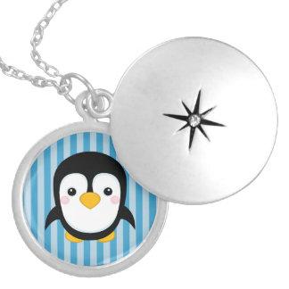 Cute Cartoon Penguin Design Blue Stripes Pattern Pendant
