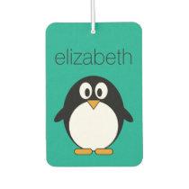 cute cartoon penguin emerald and black air freshener