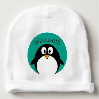 cute cartoon penguin emerald and black baby beanie
