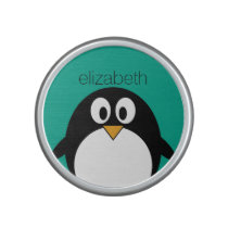 cute cartoon penguin emerald and black bluetooth speaker