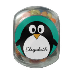 cute cartoon penguin emerald and black glass candy jar at Zazzle