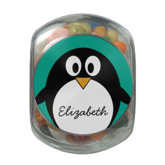cute cartoon penguin emerald and black glass candy jar