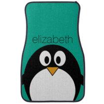 cute cartoon penguin emerald and black car floor mat