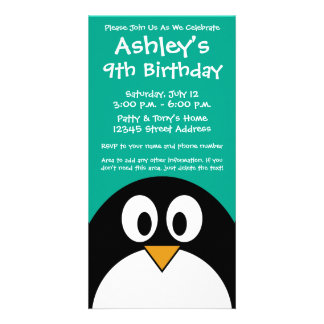 cute cartoon penguin emerald and black card