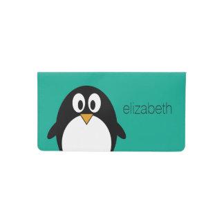 cute cartoon penguin emerald and black checkbook cover