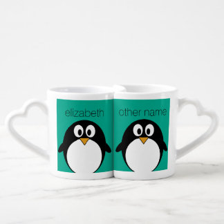 cute cartoon penguin emerald and black coffee mug set
