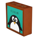 cute cartoon penguin emerald and black desk organizers