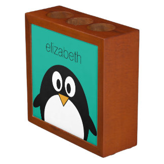cute cartoon penguin emerald and black desk organizers