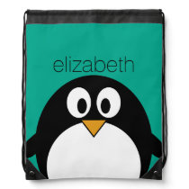 cute cartoon penguin emerald and black drawstring bag