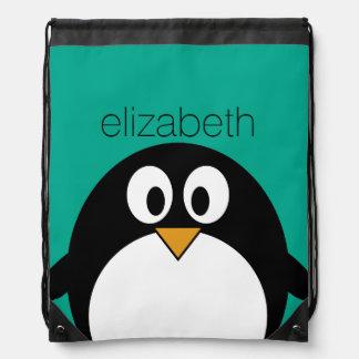 cute cartoon penguin emerald and black drawstring bag