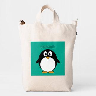 cute cartoon penguin emerald and black duck bag