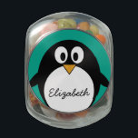 "cute cartoon penguin emerald and black glass candy jar<br><div class=""desc"">A simple,  yet mod drawing of a penguin. If you need to make changes to the artwork,  click on the customize it button to move things around.</div>"