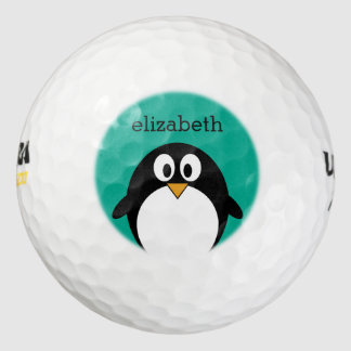 cute cartoon penguin emerald and black pack of golf balls