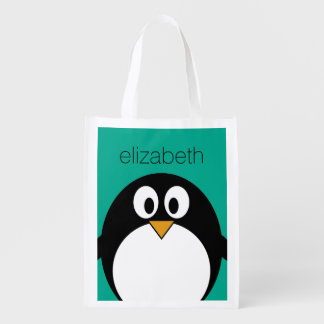 cute cartoon penguin emerald and black grocery bag