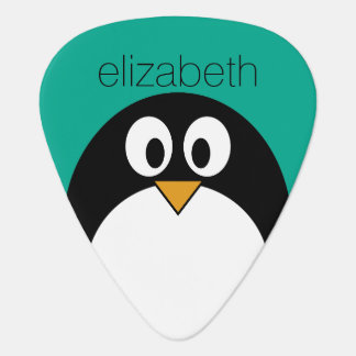 cute cartoon penguin emerald and black guitar pick