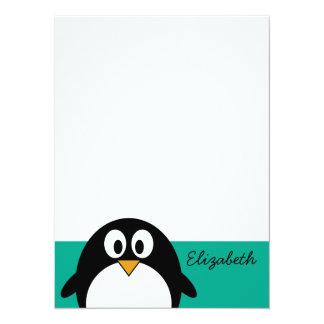 cute cartoon penguin emerald and black announcement