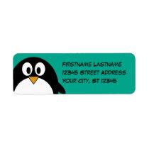 cute cartoon penguin emerald and black label