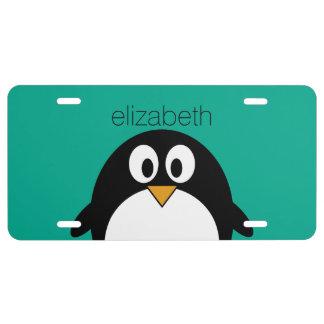 cute cartoon penguin emerald and black license plate