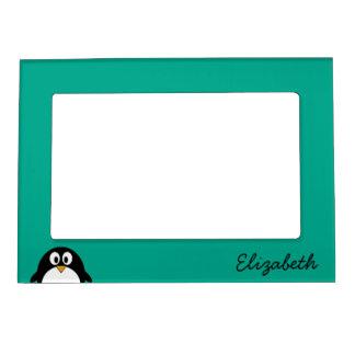 cute cartoon penguin emerald and black magnetic photo frame