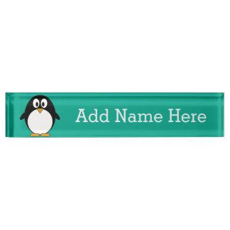 cute cartoon penguin emerald and black desk nameplate