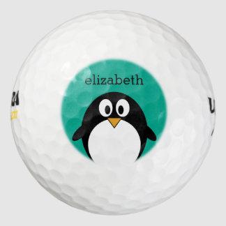 cute cartoon penguin emerald and black pack of golf balls