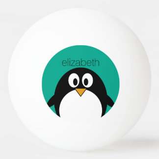 cute cartoon penguin emerald and black ping pong ball