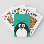 "cute cartoon penguin emerald and black playing cards<br><div class=""desc"">A simple,  yet modern illustration of a penguin. If you need to make changes to the artwork,  click on the customize it button to move things around.</div>"