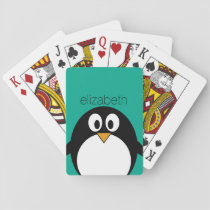 cute cartoon penguin emerald and black playing cards