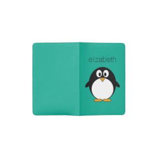 cute cartoon penguin emerald and black pocket moleskine notebook
