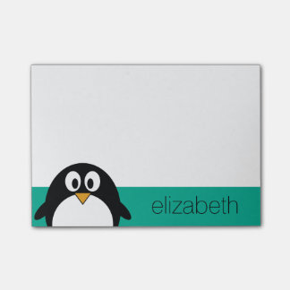 cute cartoon penguin emerald and black post-it notes