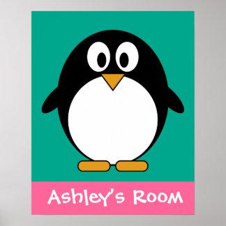 cute cartoon penguin emerald and black poster