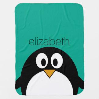 cute cartoon penguin emerald and black receiving blanket