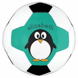 cute cartoon penguin emerald and black soccer ball