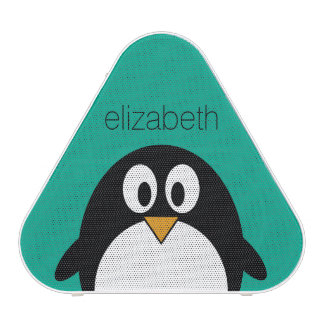 cute cartoon penguin emerald and black speaker