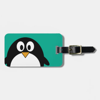 cute cartoon penguin emerald and black tag for luggage