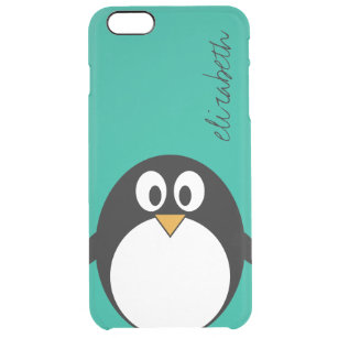 2520284640f cute cartoon penguin emerald and black clear iPhone 6 plus case