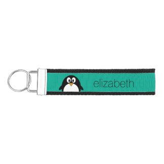 cute cartoon penguin emerald and black wrist keychain