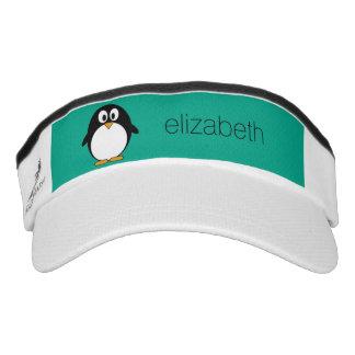 cute cartoon penguin emerald and black headsweats visor