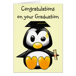 Cute Cartoon Penguin Graduate with Mortar Board Card