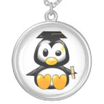 Cute Cartoon Penguin Graduate with Mortar Board Round Pendant Necklace