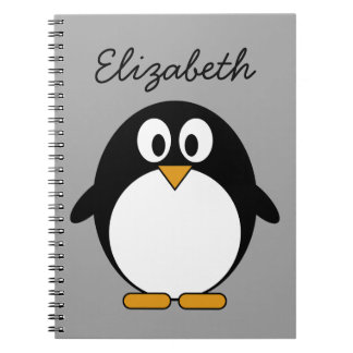 cute cartoon penguin gray notebooks