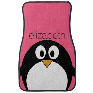Cute Cartoon penguin Illustration Hot Pink Black Car Mat