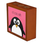 Cute Cartoon penguin Illustration Hot Pink Black Pencil Holder