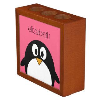Cute Cartoon penguin Illustration Hot Pink Black Pencil Holder